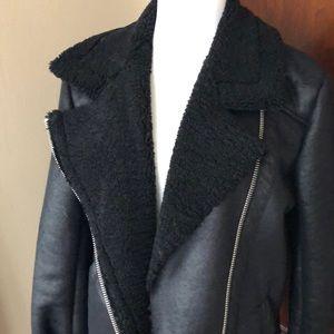 American Eagle Outfitters Jackets & Coats - AE Sherpa Black Moto Jacket M